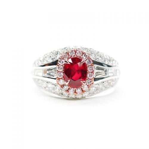プラチナ900 ルビー(ノーヒート・ピジョンブラッド)ダイヤモンドリング