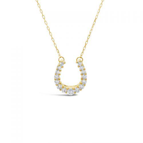 K18イエローゴールド ダイヤモンド馬蹄モチーフペンダント 0.2CT