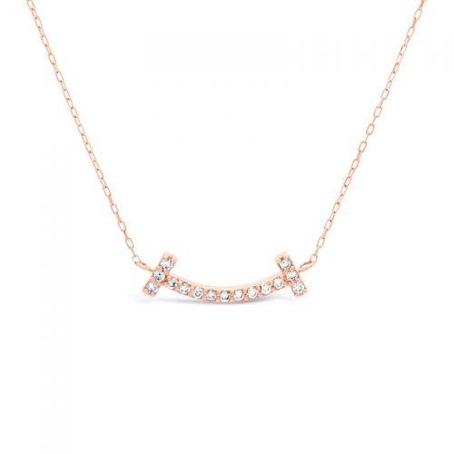 K18ピンクゴールド ダイヤモンドスマイルペンダント 0.07CT