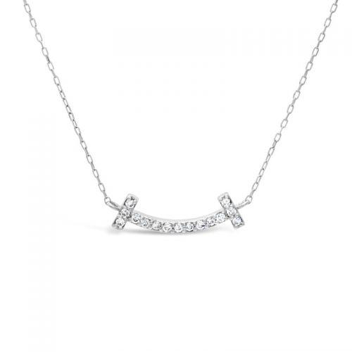 K18ホワイトゴールド ダイヤモンドスマイルペンダント 0.07CT