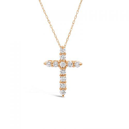 K18ピンクゴールド ダイヤモンド クロスペンダント 0.3CT