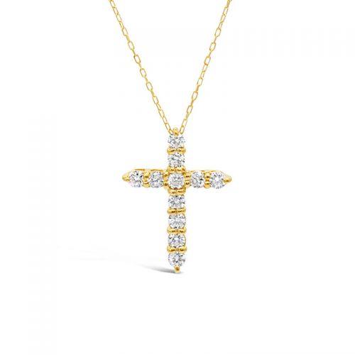 K18イエローゴールド ダイヤモンド クロスペンダント 0.3CT