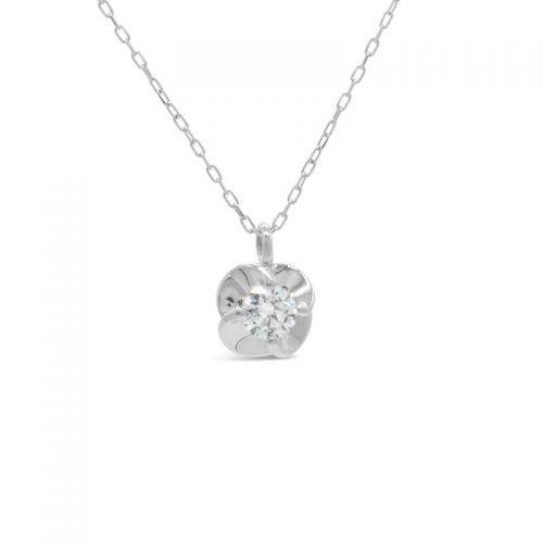 プラチナ950 ハート&キューピッドダイヤモンドフラワーモチーフペンダント0.1CT