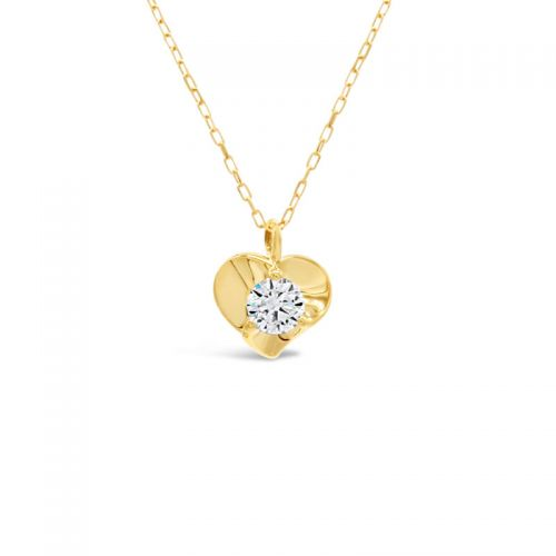 K18ピンクゴールド ハート&キューピッドダイヤモンドハートモチーフペンダント0.1CT