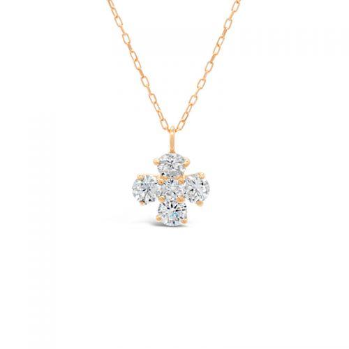 K18ピンクゴールド クロスモチーフダイヤモンドペンダント0.3CT