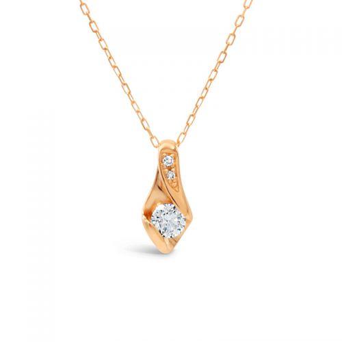 K18ピンクゴールド ハート&キューピッドダイヤモンドペンダント0.2CT