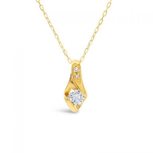 K18イエローゴールド ハート&キューピッドダイヤモンドペンダント0.2CT