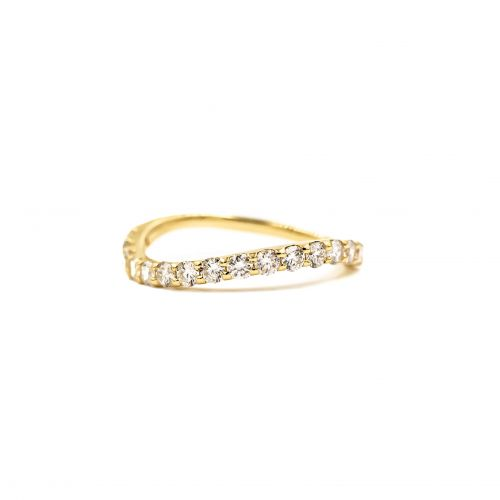 K18イエローゴールド ウエーブダイヤモンドリング0.5CT