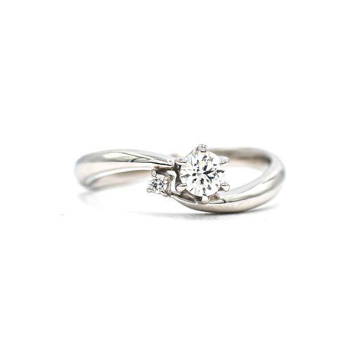 プラチナ950 ハート&キューピットダイヤモンドソリテールリング0.25CT