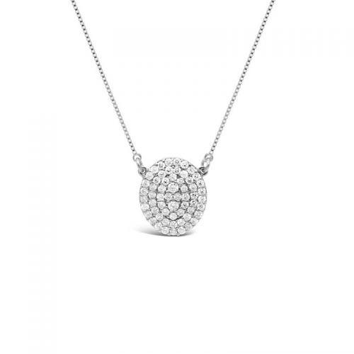K18ホワイトゴールド オーバルモチーフ ダイヤモンドペンダント 0.3CT