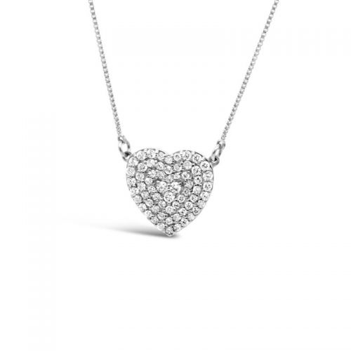 K18ホワイトゴールド ハートモチーフ ダイヤモンドペンダント 0.3CT