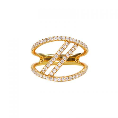 K18イエローゴールド 2連ダイヤモンドリング0.5CT
