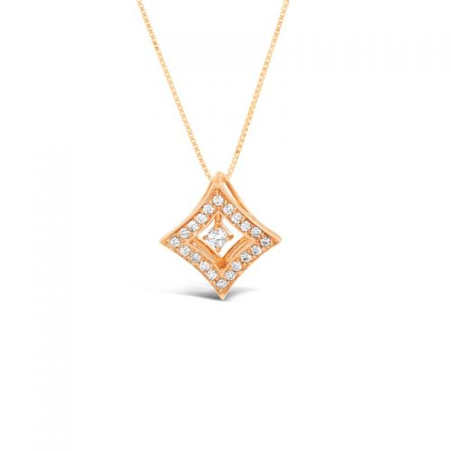 K18ピンクゴールド 2WAYダイヤモンドペンダント 0.3CT