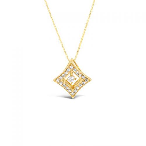 K18イエローゴールド 2WAYダイヤモンドペンダント 0.3CT