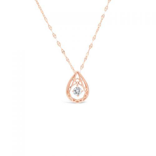 Diamond Drop Shape Pendant in Pink Gold K18