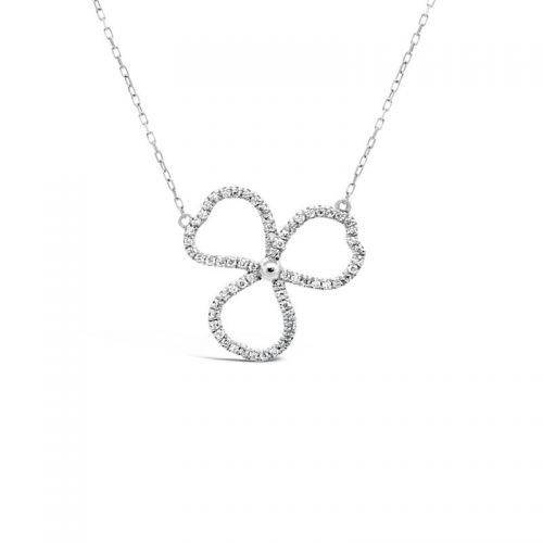 K18ホワイトゴールド クローバーモチーフダイヤモンドペンダント 0.07CT