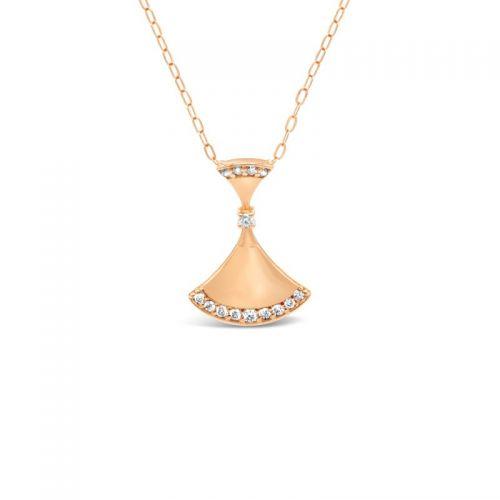 K18ピンクゴールド ダイヤモンド扇型ネックレス 0.08CT