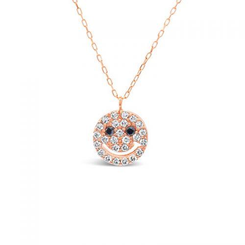K18ピンクゴールド ダイヤモンド・ブラックダイヤモンド スマイルペンダント 0.13CT