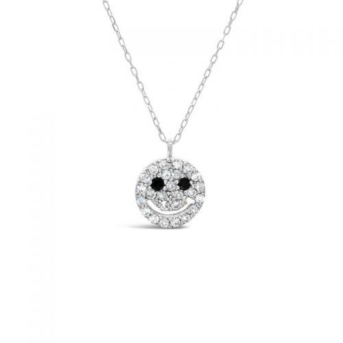 K18ホワイトゴールド ダイヤモンド・ブラックダイヤモンド スマイルペンダント 0.13CT
