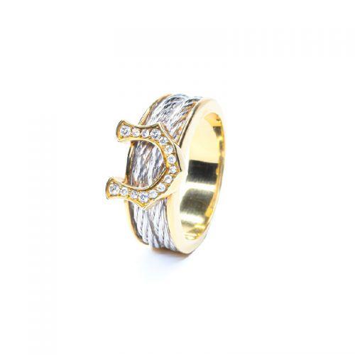 K18イエローゴールド・ホワイトゴールド ダイヤモンド馬蹄メンズリング 0.15CT