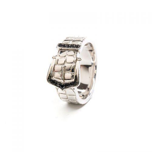 プラチナ900 ブラックダイヤモンドベルトモチーフメンズリング 0.1CT