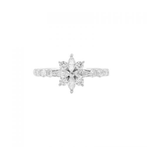 プラチナ900 ダイヤモンドフラワーリング0.5CT