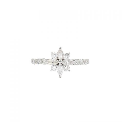 プラチナ900 ダイヤモンドフラワーリング0.8CT