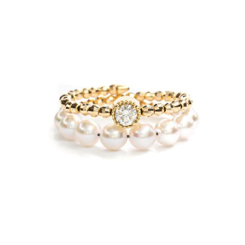 Akoya Pearl with Diamond Ring 0.10ct up Flexible in Yellow Gold K18