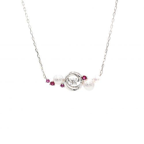 Top Swing Collection K18WG ルビー&パール ダイヤモンドネックレス