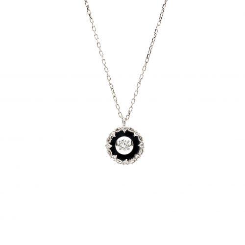 Top Swing Collection PT900 センターブラックメッキ サークルダイヤモンドネックレス