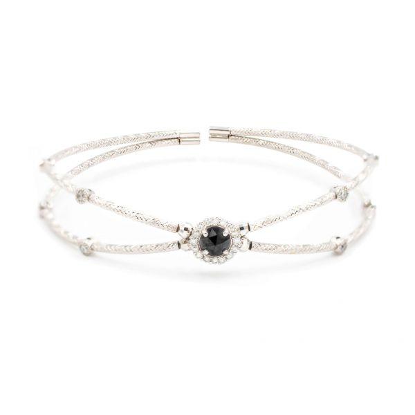 Flexible Bangle White Gold K18 in Black and White Diamond combination