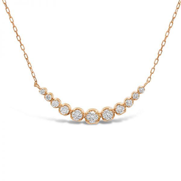 K18ピンクゴールド ダイヤモンドラインネックレス 0.2CT