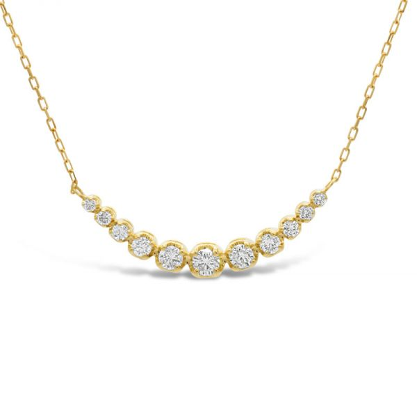 K18イエローゴールド ダイヤモンドラインネックレス 0.3CT