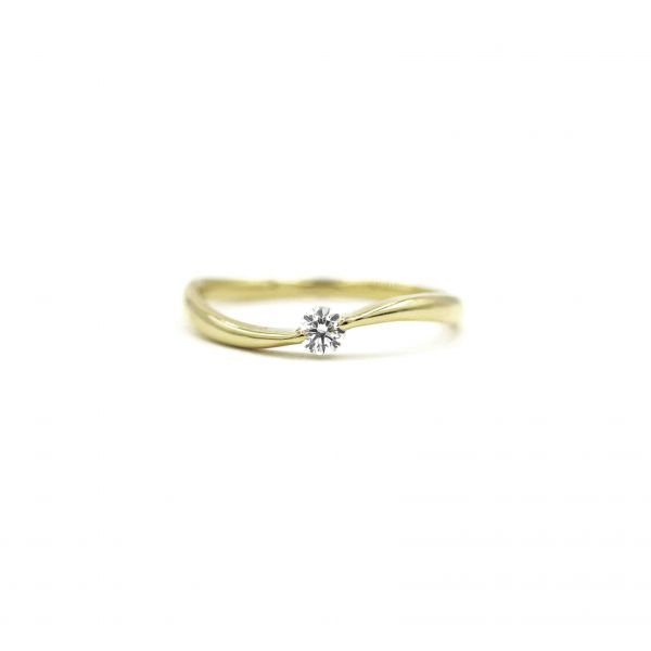 Certified Diamond Ring 0.10ct Heart and Cupid in K18 Yellow Gold