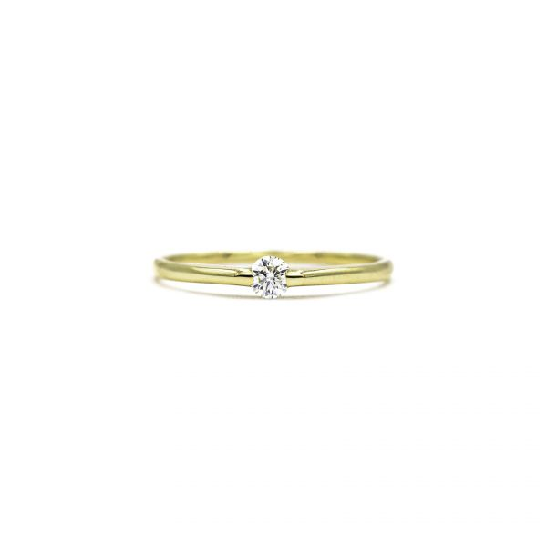 Certified Diamond Ring of 0.10ct Heart and Cupid in K18 Yellow Gold
