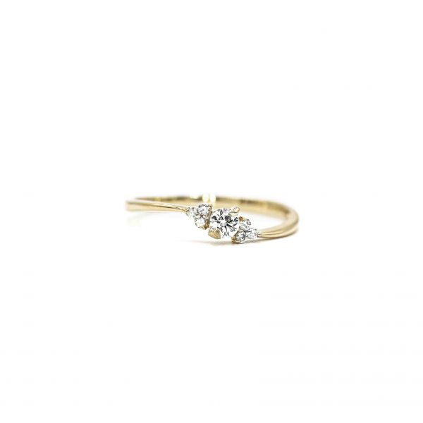 Certified Diamond Ring 0.14ct Heart and Cupid in Pink Gold K18