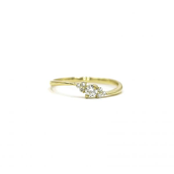 Certified Diamond Ring 0.14ct Heart and Cupid in Yellow Gold K18