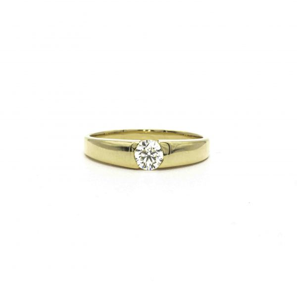 Certified Diamond Ring 0.30ct Heart and Cupid in Yellow Gold K18