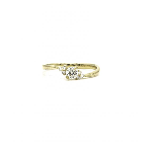 Certified Diamond Ring 0.26ct Heart and Cupid in Yellow Gold K18