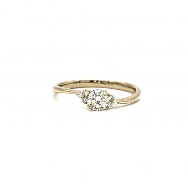 Certified Diamond Ring 0.36ct Heart and Cupid in Pink Gold K18