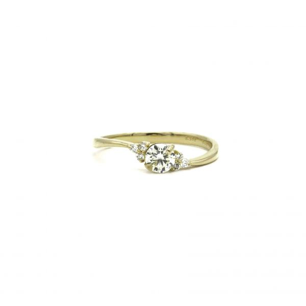 Certified Diamond Ring 0.36ct Heart and Cupid in Yellow Gold K18