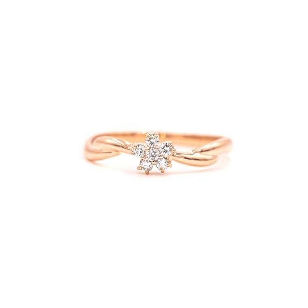 Elegant Flower Ring with Natural Diamond - Pink Gold