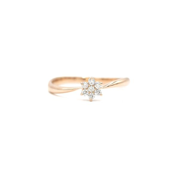 Elegant Flower Ring with Natural Diamond in Pink Gold