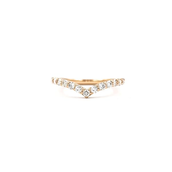 Ring Half Eternity V shape Pink Gold k18 with Diamond 0.50ct Pave Ring