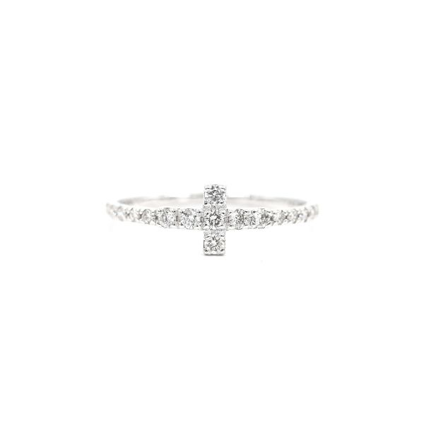 Ring with T Motif set in Natural Diamond - Platinum