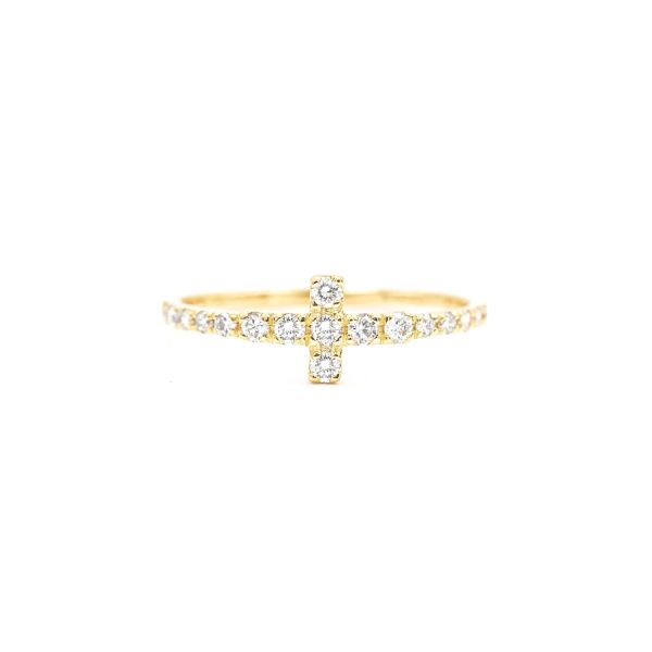 Ring with T Motif set in Natural Diamond - Yellow Gold