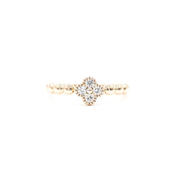 Natural Diamond Clover Motif Ring in Pink Gold