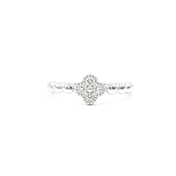 Natural Diamond Clover Motif Ring in Platinum