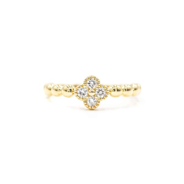 Natural Diamond Clover Motif Ring in Yellow Gold