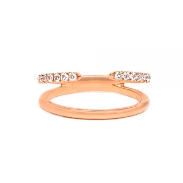 K18ピンクゴールド ダイヤモンド2連リング0.2CT